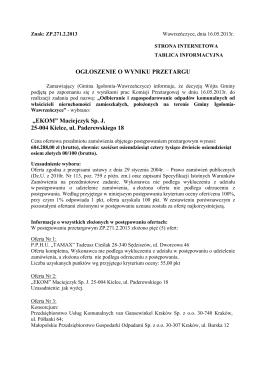"""""""EKOM"""" Maciejczyk Sp. J. 25-004 Kielce, ul. Paderewskiego 18"""