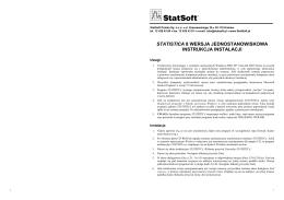 statistica 8 wersja jednostanowiskowa instrukcja instalacji