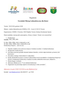 Regulamin Teresiński Mityng Lekkoatletyczny dla Dzieci