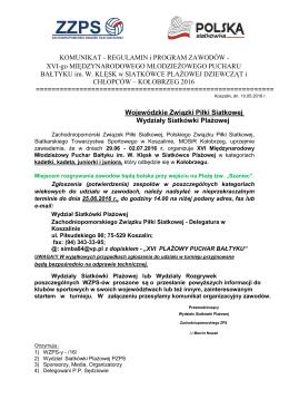 KOMUNIKAT - REGULAMIN i PROGRAM ZAWODÓW - XVI
