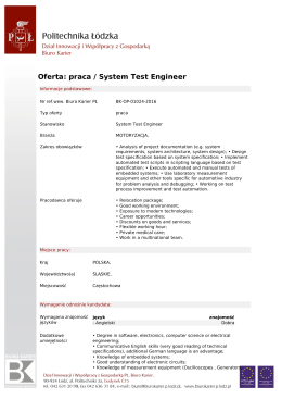 Oferta: praca / System Test Engineer