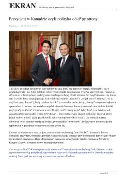 Prezydent w Kanadzie czyli polityka od d*py strony.