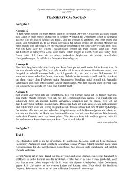 TRANSKRYPCJA NAGRAŃ Aufgabe 1 Aufgabe 2