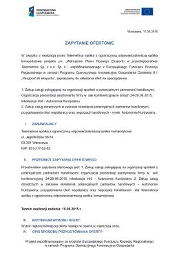 ZAPYTANIE OFERTOWE - Telemetrica Sp. z oo Sp. k.