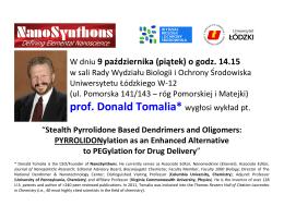 prof. Donald Tomalia* wygłosi wykład pt.