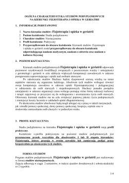 Fizjoterapia i opieka w geriatrii - Wydział Przyrodniczo