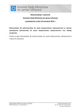 Rekomendacja KRMC dla pełnomocników ds. bezpieczeństwa