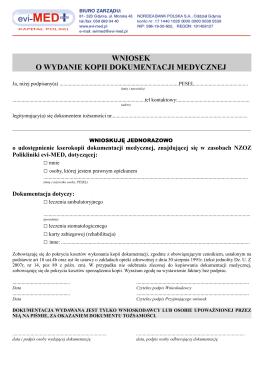 Wniosek o wydanie kopii dokumentacji medycznej - Evi-MED
