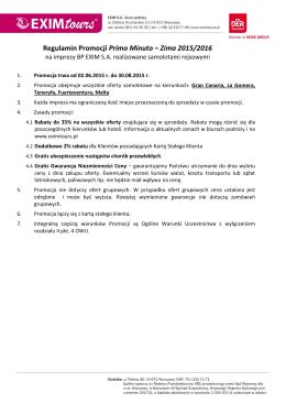 Regulamin Promocji Primo Minuto – Zima 2015/2016