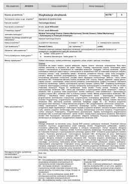 Eksploatacja obrabiarek - Wydział Technologii Drewna WTD SGGW