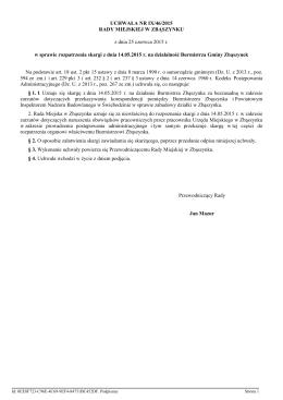 Uchwala Nr IX/46/2015 z dnia 25 czerwca 2015 r.