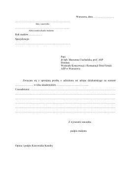 Podanie o urlop dziekański - Wydział Konserwacji i Restauracji
