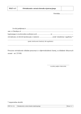 WKT-A-3 Oświadczenie o utracie dowodu rejestracyjnego Ostrołęka