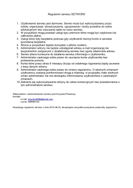 Regulamin serwisu GETWORD 1. Użytkowanie serwisu jest