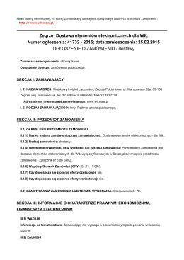 nr sprawy - ZP/04/15/ZD - Wojskowy Instytut Łączności