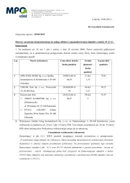 Rozstrzygnięcie postępowania - 10.06.2015r.