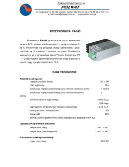 PRZETWORNICA PA-240 DANE TECHNICZNE