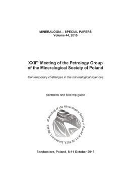 Meeting of the Petrology Group of the Mineralogical Society of Poland