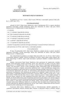 Rozstrzygnięcie nadzorcze Nr NPII.4131.1.456.2015 z dnia 9
