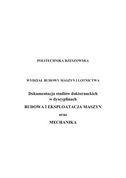 Dokumentacja studiów doktoranckich w dyscyplinach BUDOWA I