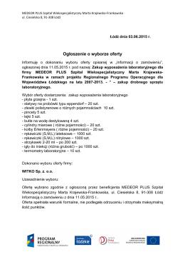 Ogłoszenie o wyborze oferty z dnia 03.06.2015