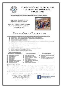 Technik Obsługi Turystycznej - Zespół Szkół Ekonomicznych im