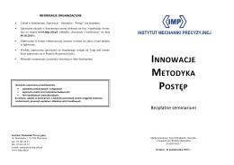 Innowacje – Metodyka – Postęp - Instytut Mechaniki Precyzyjnej