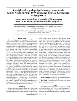 Spondyloza kręgos³upa lędźwiowego w materiale Kliniki