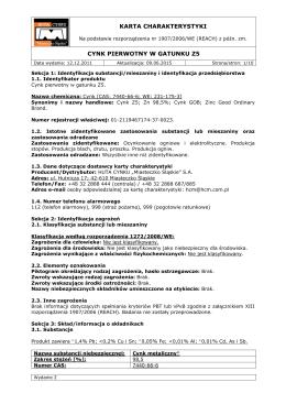 karta charakterystyki cynk pierwotny w gatunku z5