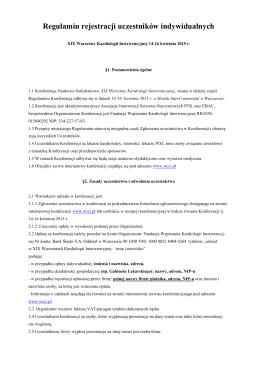 Regulamin rejestracji uczestników indywidualnych
