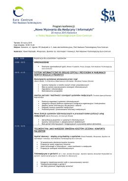 Nowe Wyzwania dla Medycyny i Informatyki - pnt.euro