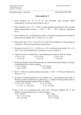 Lista zadań nr 1 - Zakład Dynamiki Budowli
