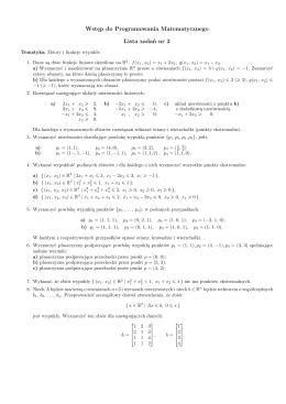 Wstęp do Programowania Matematycznego Lista zadań nr 2