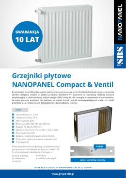 Grzejniki płytowe Nanopanel Compact i Ventil