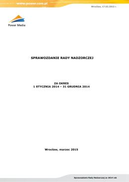 Sprawozdanie rady nadzorczej 2014