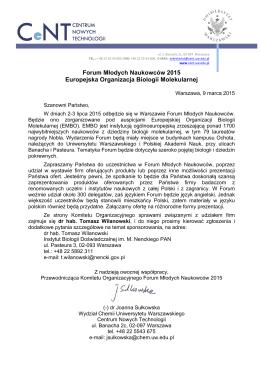 Forum Młodych Naukowców 2015 Europejska Organizacja Biologii