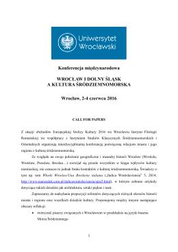 Konferencja międzynarodowa WROCŁAW I DOLNY ŚLĄSK A