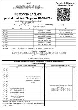 Banaszak - Zakład Podstaw Informatyki i Zarządzania