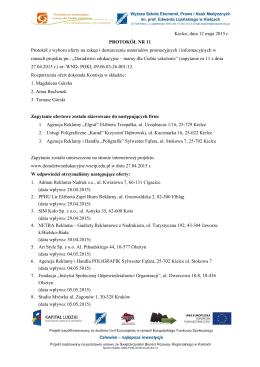 Kielce, dnia 12 maja 2015 r. PROTOKÓŁ NR 11 Protokół z wyboru