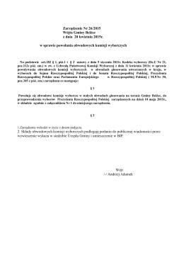 Zarządzenie Nr 26/2015 Wójta Gminy Bełżec z dnia 20 kwietnia
