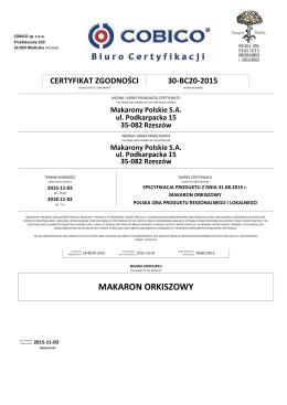 Makarony Polskie S.A. Podkarpackie 30-BC20