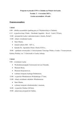 Program wycieczki UTW w Chełmie na Wołyń i do Łucka