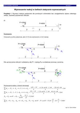 Wyznaczanie reakcji w belkach statycznie wyznaczalnych