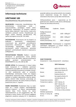 Informacje techniczne URETHANE 100