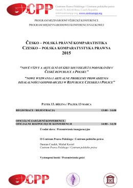 szczegółowy program konferencji / podrobný program konference