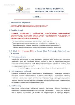 - AGENDA - VII ŚLĄSKIE FORUM INWESTYCJI, BUDOWNICTWA