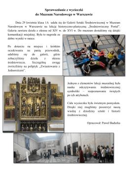 Sprawozdanie z wycieczki do Muzeum Narodowego w Warszawie