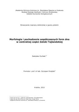 Streszczenie - Wydział Geologii, Geofizyki i Ochrony Środowiska
