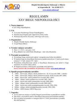 Regulamin Biegu Niepodległości 2015