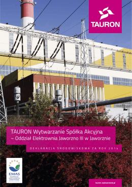 Deklaracja środowiskowa za 2014 Elektrownia Jaworzno III